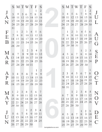 Black Free Printable Yearly Calendar 4