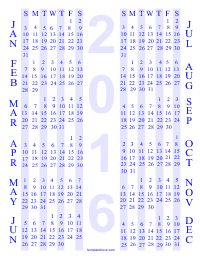 12 Month Printable PDF Calendar - Blue