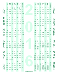 Green Printable Yearly Calendar