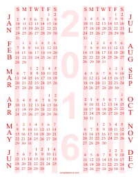 PDF Printable Yearly Calendar 4 - Red