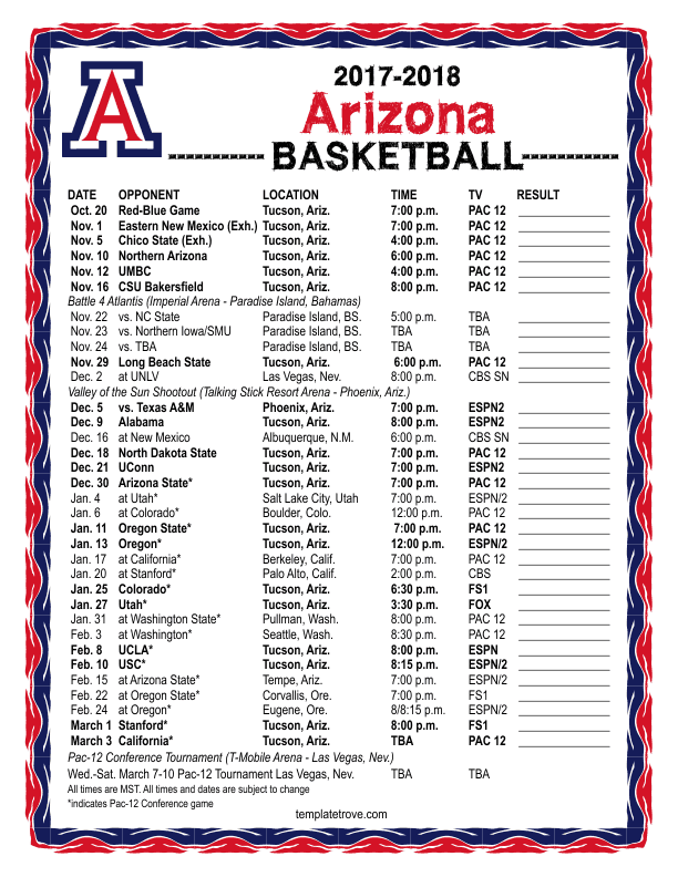 2017-2018-Arizona-Wildcats-Basketball-Schedule-612 Free Basketball Newsletter Template on free preschool newsletter template, free monkey newsletter template, free church youth group newsletter template, free newspaper newsletter template,