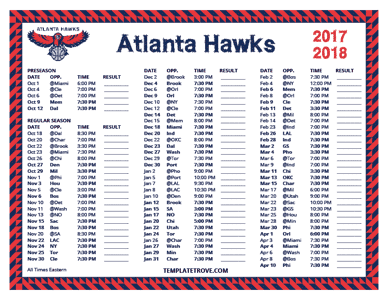 Atlanta Hawks 2017-18 Printable Schedule