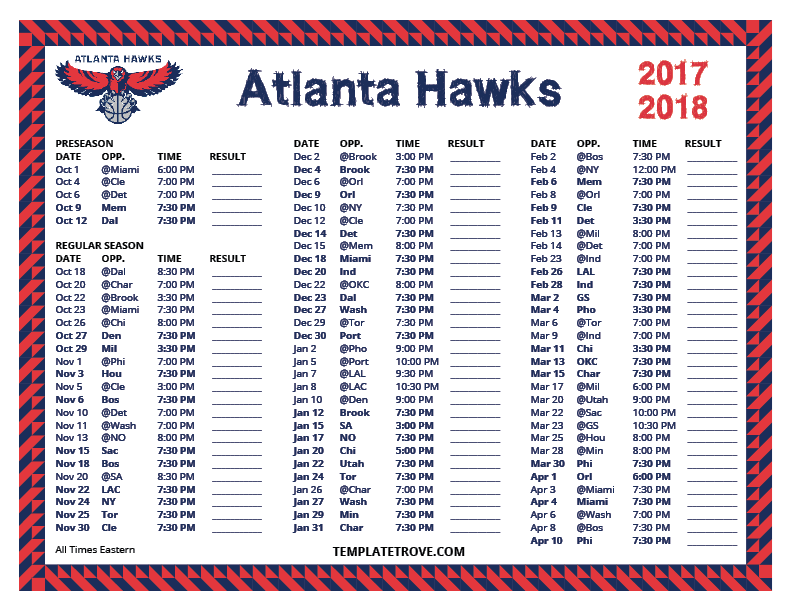 Printable 2017 2018 Atlanta Hawks Schedule
