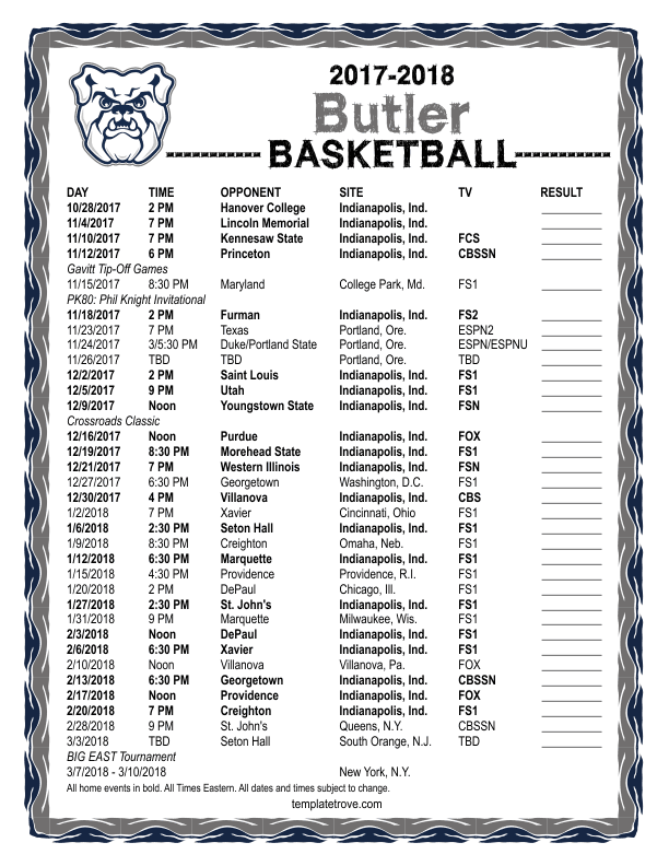 2017-2018-Butler-Basketball-Schedule-612 Team Newsletter Template Word on family reunion, free emergency, compatible class, how make, free blank,