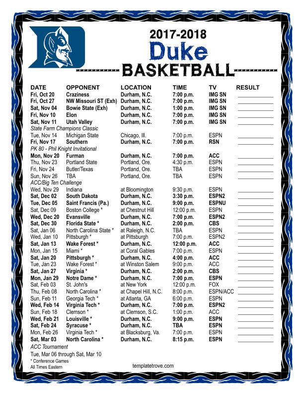 Printable 2017 2018 Duke Blue Devils Basketball Schedule