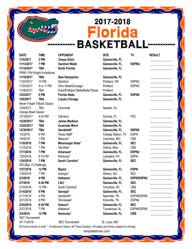 Gators Basketball Schedule >> Printable 2017 2018 Florida Gators Basketball Schedule