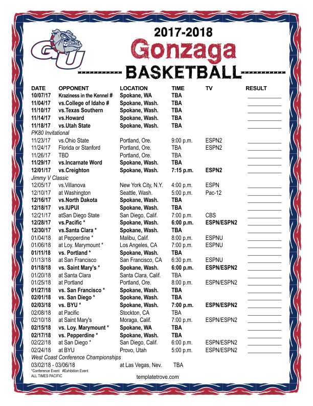 It is an image of Tactueux Printable Gonzaga Basketball Schedule