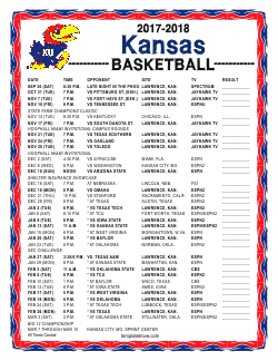 picture about Ku Basketball Schedule Printable titled Printable 2017-2018 Kansas Jayhawks Basketball Routine
