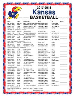 picture regarding Ku Basketball Schedule Printable known as Printable 2017-2018 Kansas Jayhawks Basketball Plan