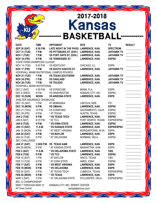 2017-2018-Kansas-Basketball-Schedule-612 Free Basketball Newsletter Template on free preschool newsletter template, free monkey newsletter template, free church youth group newsletter template, free newspaper newsletter template,
