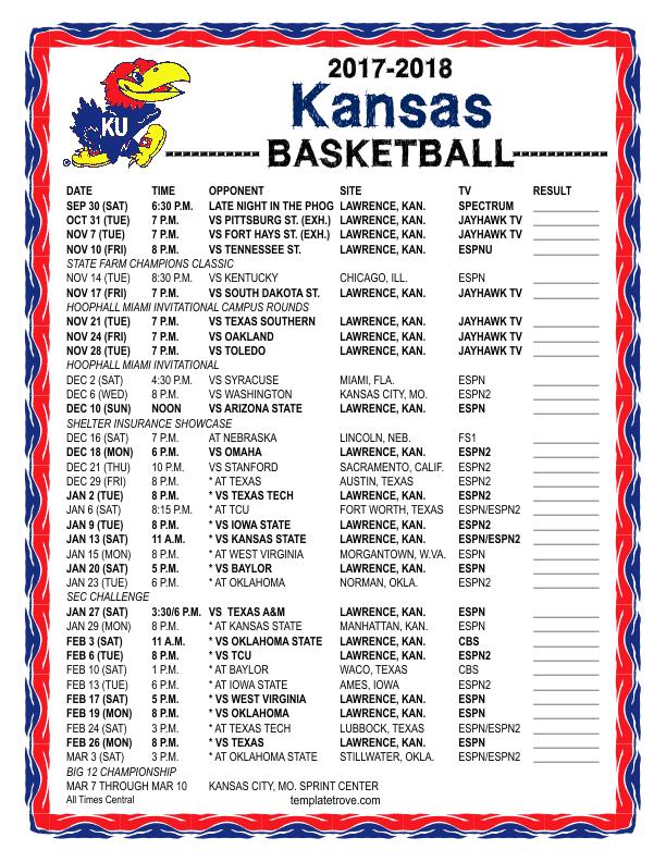 picture about Ku Basketball Schedule Printable titled Printable 2017-2018 Kansas Jayhawks Basketball Timetable