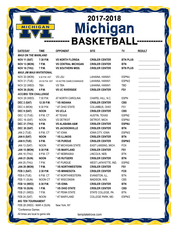 Printable 2017 2018 Michigan Wolverines Basketball Schedule