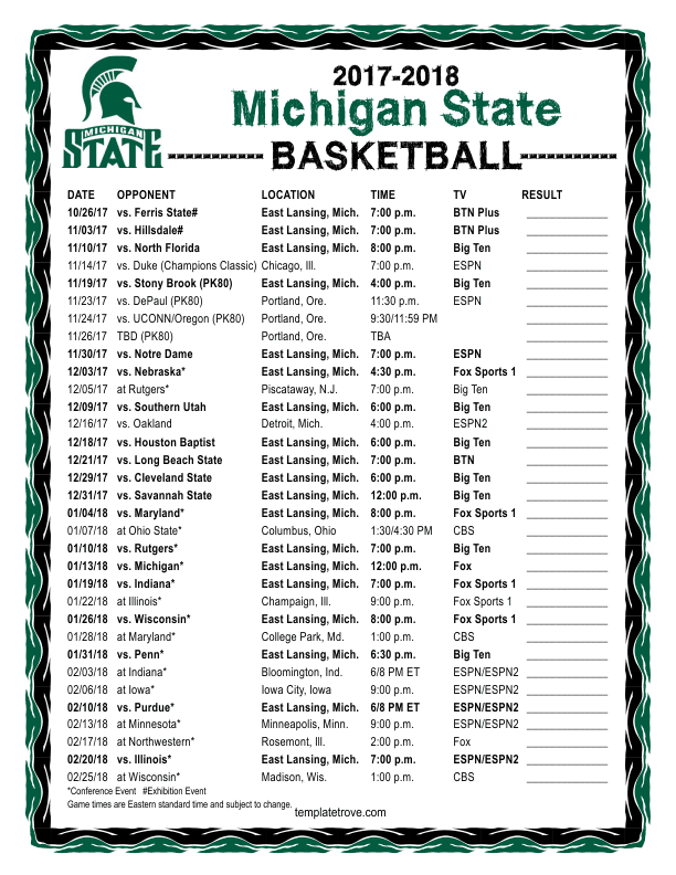 Printable 2017 2018 Michigan State Spartans Basketball Schedule