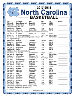2017-18 North Carolina Tarheels Printable Schedule