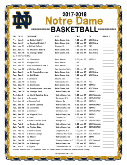 2017-2018 Notre Dame Fighting Irish Basketball Schedule