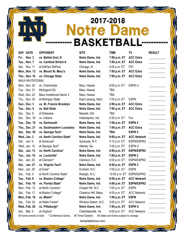 graphic relating to Duke Basketball Schedule Printable referred to as Printable 2017-2018 Notre Dame Battling Irish Basketball