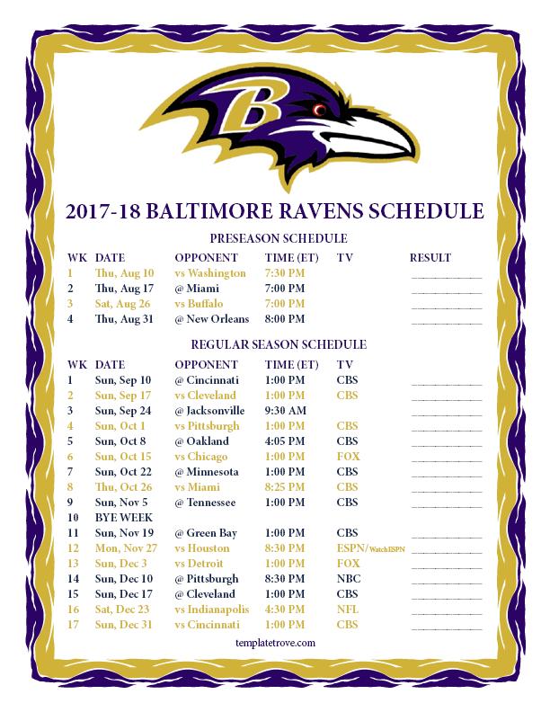 Printable 2017 2018 Baltimore Ravens Schedule
