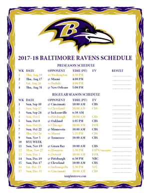 Baltimore Ravens 2017-18 Printable Schedule - Pacific Times