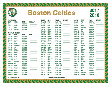 2017-18 Printable Boston Celtics Schedule - Central Times