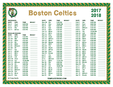Boston Celtics 2017-18 Printable Schedule - Pacific Times