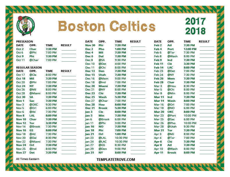 graphic regarding Boston Celtics Printable Schedule titled Printable 2017-2018 Boston Celtics Timetable