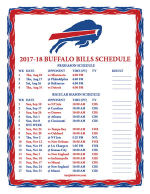 Buffalo Bills 2017-18 Printable Schedule - Pacific Times