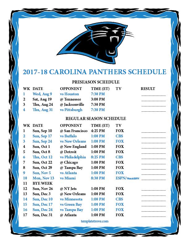 Printable 2017 2018 Carolina Panthers Schedule