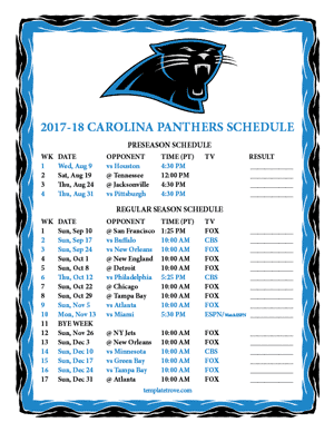 Carolina Panthers 2017-18 Printable Schedule - Pacific Times