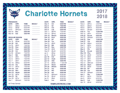 2017-18 Printable Charlotte Hornets Schedule - Central Times