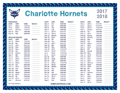 Charlotte Hornets 2017-18 Printable Schedule
