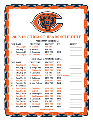 Chicago Bears 2017-18 Printable Schedule - Central Times