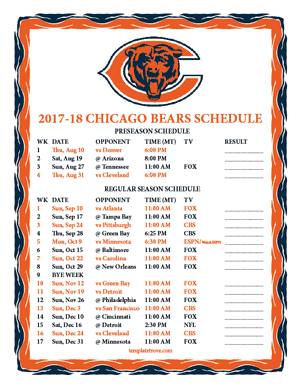 Chicago Bears 2017-18 Printable Schedule - Mountain Times