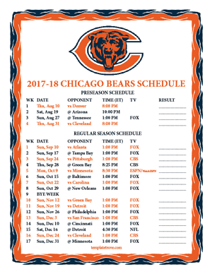 Chicago Bears 2017-18 Printable Schedule
