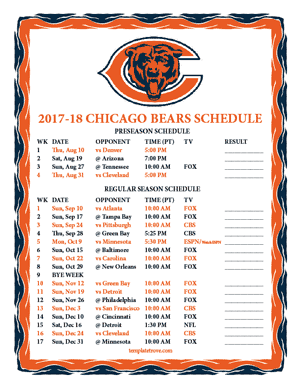 Chicago Bears 2017-18 Printable Schedule - Pacific Times