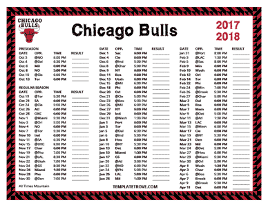 Chicago Bulls 2017-18 Printable Schedule - Mountain Times