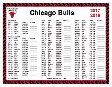Chicago Bulls 2017-18 Printable Schedule - Pacific Times