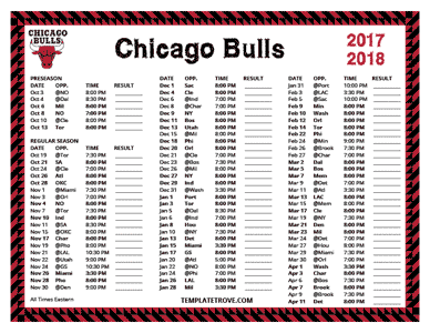 Chicago Bulls 2017-18 Printable Schedule