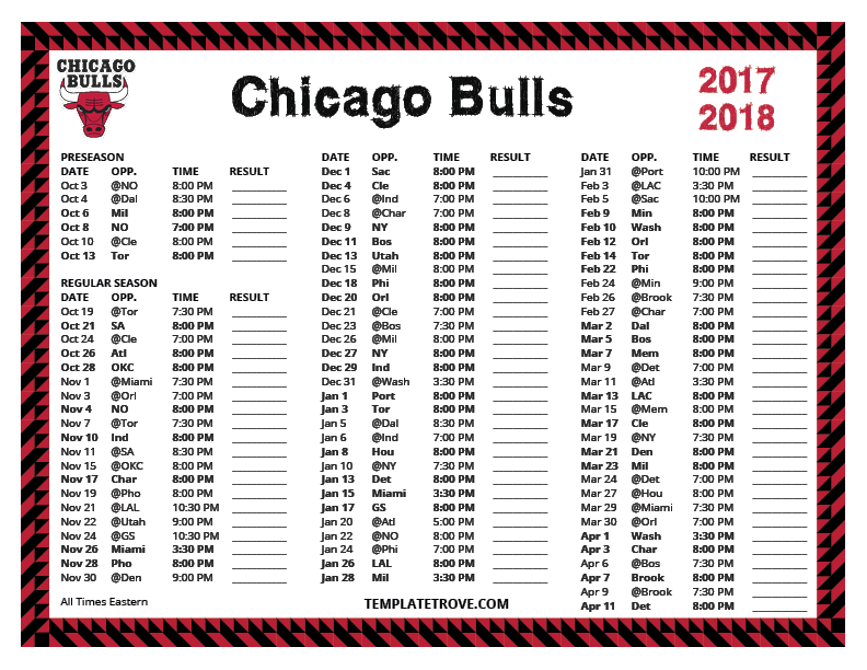 Challenger image with regard to chicago bulls schedule printable