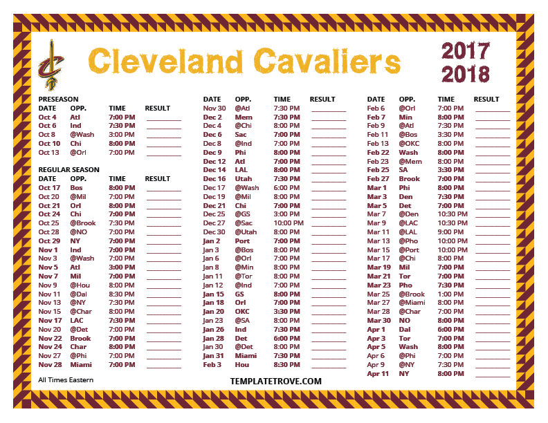 photograph relating to Cleveland Cavaliers Printable Schedule referred to as Printable 2017-2018 Cleveland Cavaliers Timetable