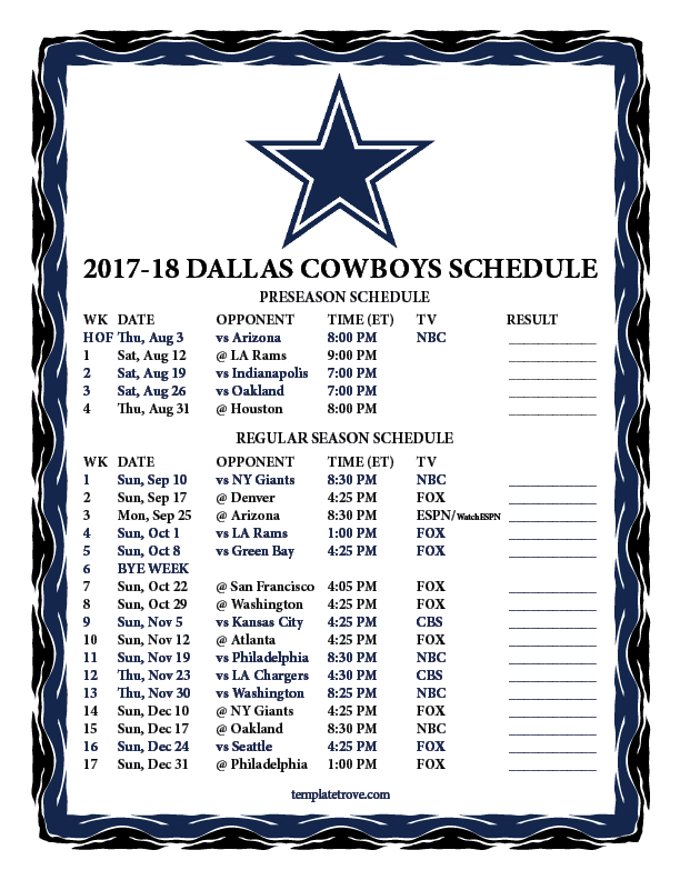 Printable 2017 2018 Dallas Cowboys Schedule