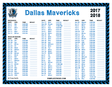 Dallas Mavericks 2017-18 Printable Schedule - Pacific Times