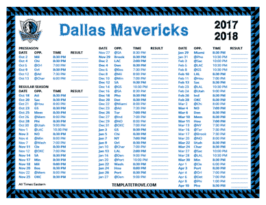 Dallas Mavericks 2017-18 Printable Schedule