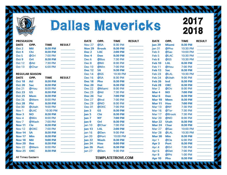 Printable 2017 2018 Dallas Mavericks Schedule