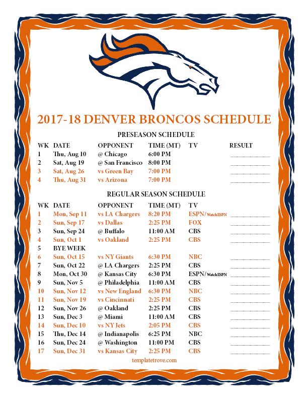 Printable 2017 2018 Denver Broncos Schedule