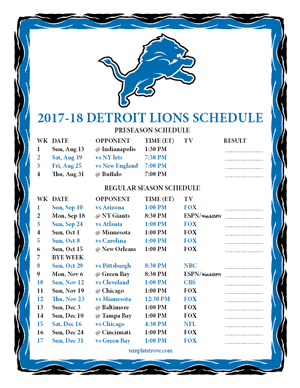 Detroit Lions 2017-18 Printable Schedule