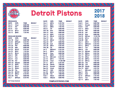 2017-18 Printable Detroit Pistons Schedule - Central Times