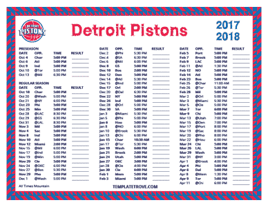 Detroit Pistons 2017-18 Printable Schedule - Mountain Times