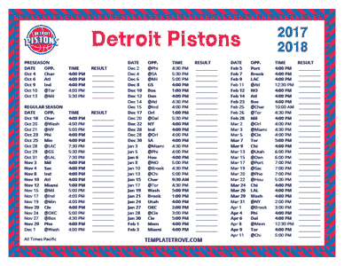 Detroit Pistons 2017-18 Printable Schedule - Pacific Times