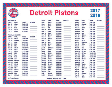 Detroit Pistons 2017-18 Printable Schedule