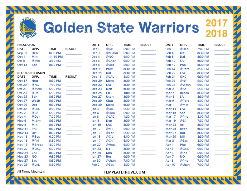 2017-2018-Printable-Golden-State-Warriors-Schedule-Mountain-Times Team Newsletter Template Free on schedule template free, contact template free, team logo free, calendar template free, site map template free,